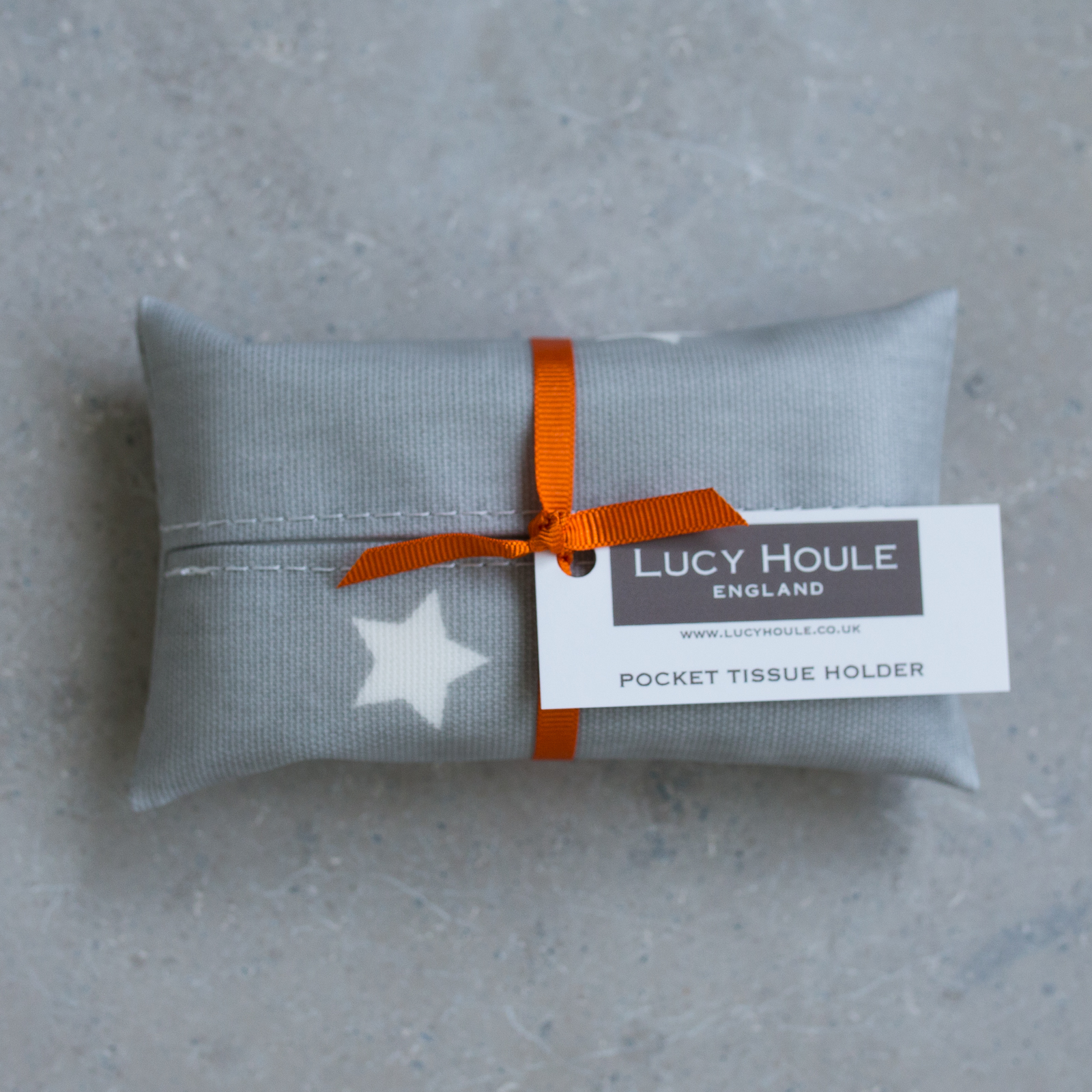 Grey & White Star Pocket Tissue Holder Orange