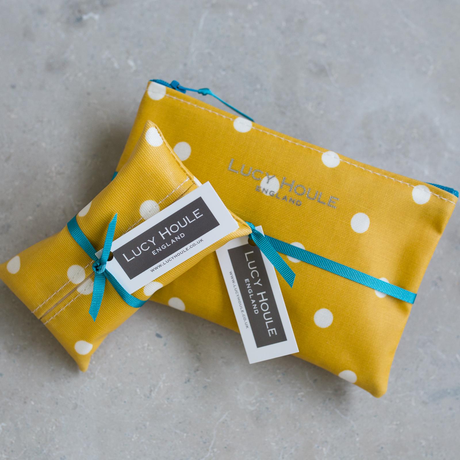 Honey & White Spot Handbag Set Aqua Zip