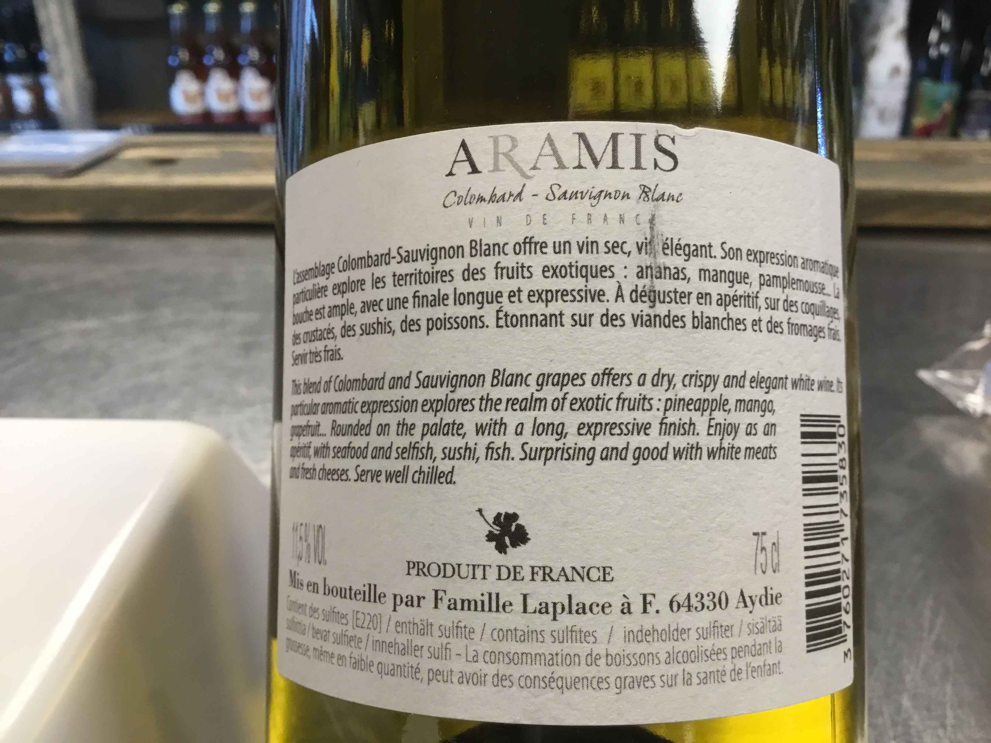 Aramis Colombard Sauvignon 2017 11.5% 750ml Famille Laplace
