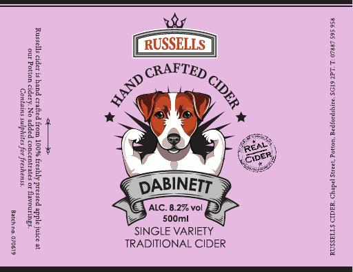 Dabinet 8.2% 500ml Single Variety Traditonal Cider Hand Crafted Russells Cider