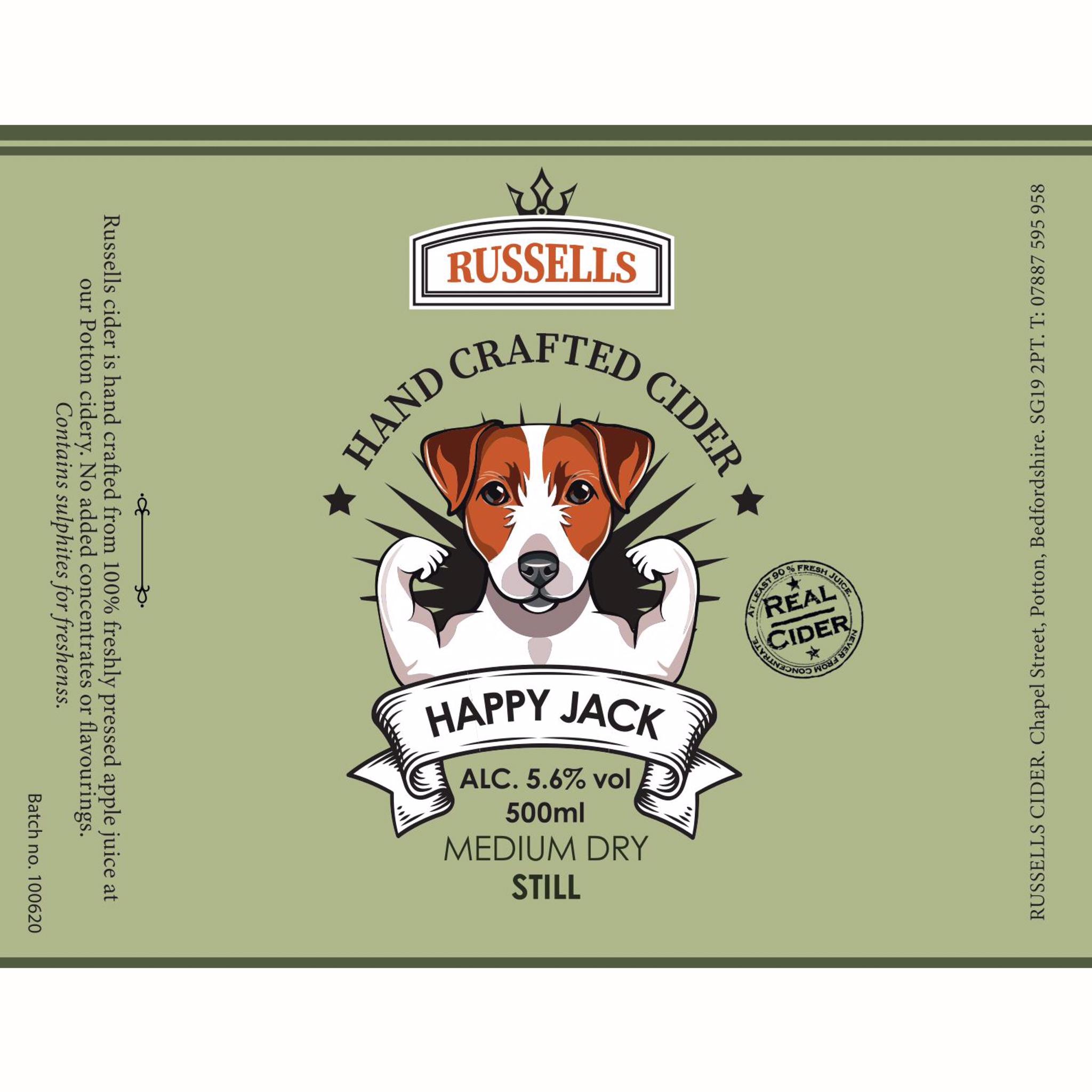 Happy Jack Medium Dry Still Cider 5.6% 500ml Russells Hand Crafted Cider