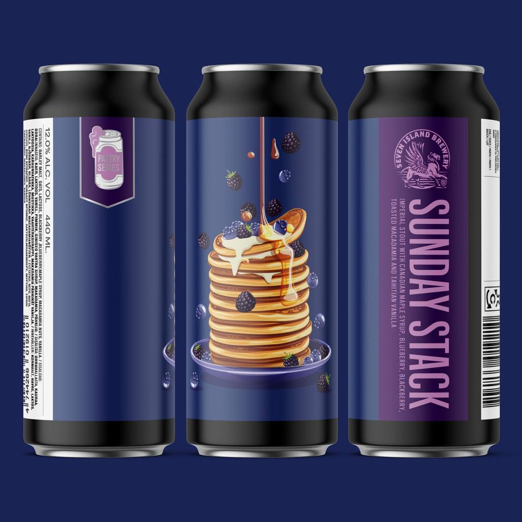 Sunday Stack - Imperial Stout with Maple Syrup, Blueberry, Blackberry, Toasted Macadamia & Vanilla, 12%, 440ml Seven Island Brewery