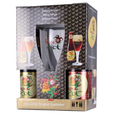 Brugse Zot Gift Pack 2x Blonde, 2x Brune + 1 Glass