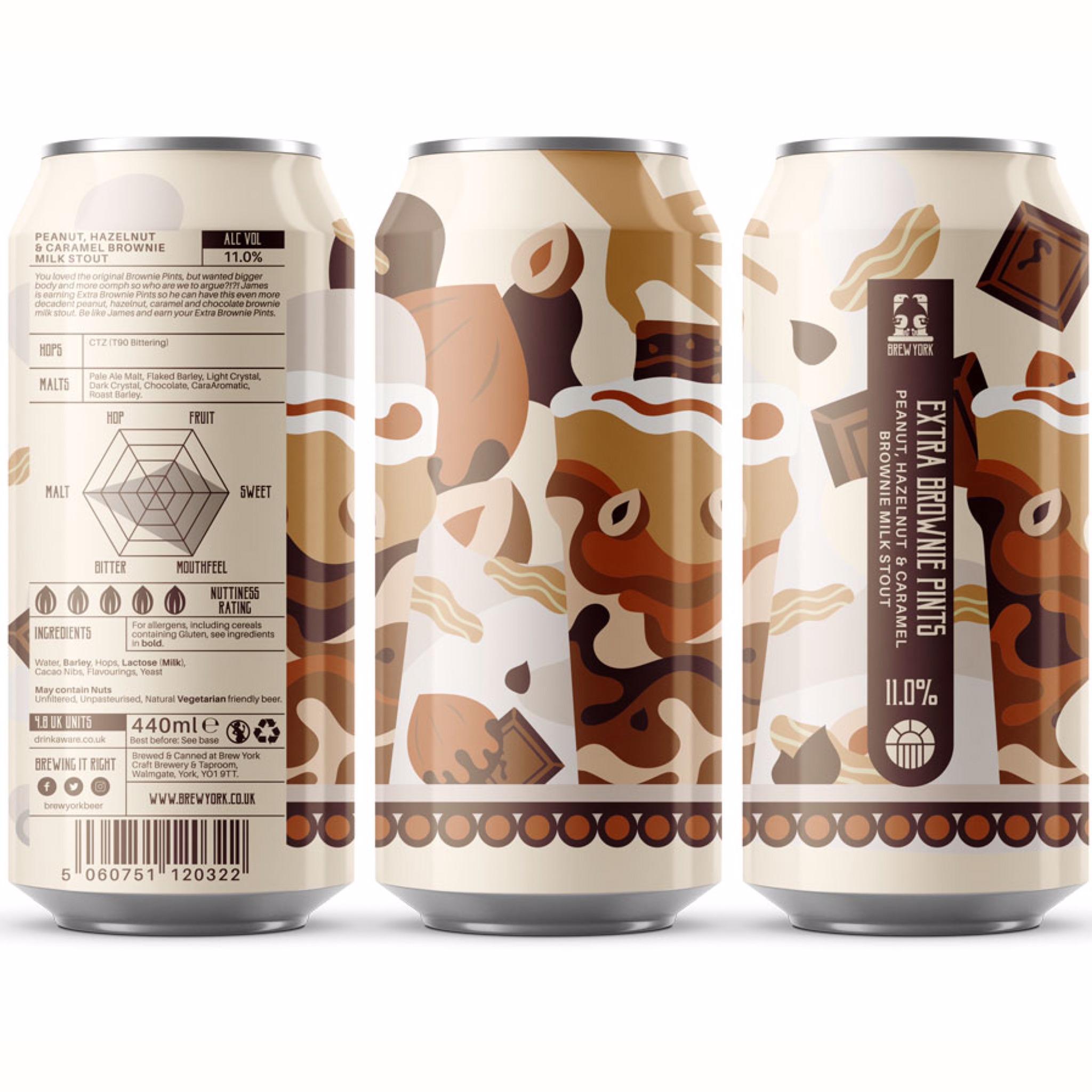 Extra Brownie Pints Peanut, hazelnut & caramel brownie milk stout 11% 440ml Brew York