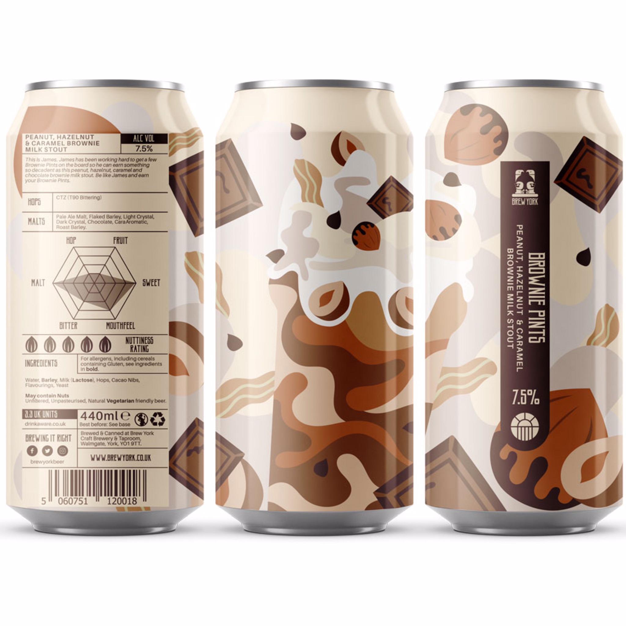 Brownie Pints - Peanut, Hazelnut & Caramel Brownie Milk Stout 7.5% 440ml Brew York