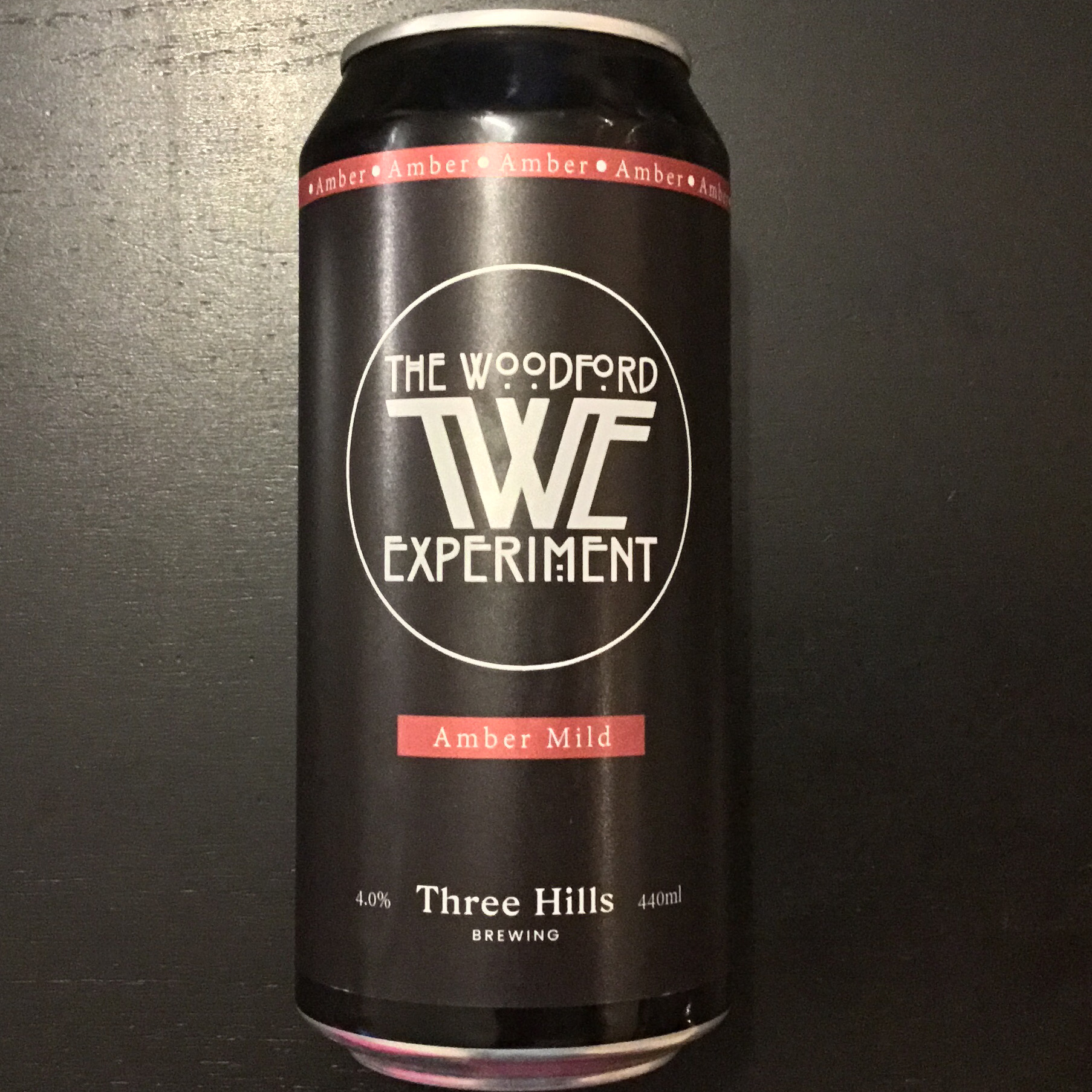 The Woodford Experiment Amber Mild 4% 440ml Three Hills Brewing