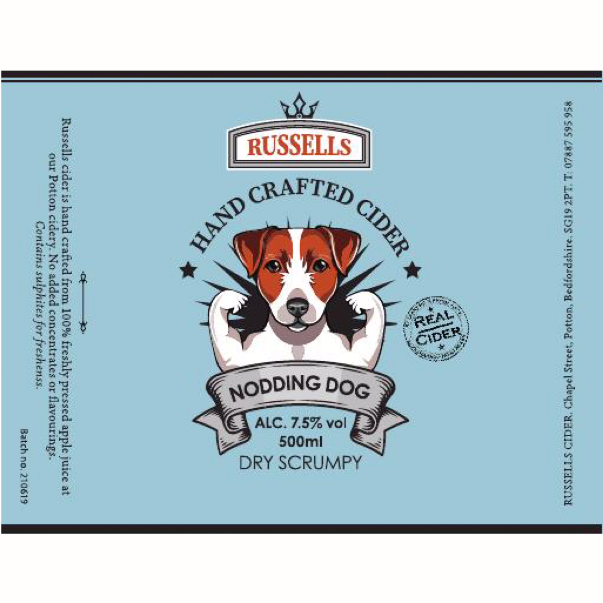 Nodding Dog Dry Scrumpy Cider 7.5% 500ml Russells Hand Crafted Cider
