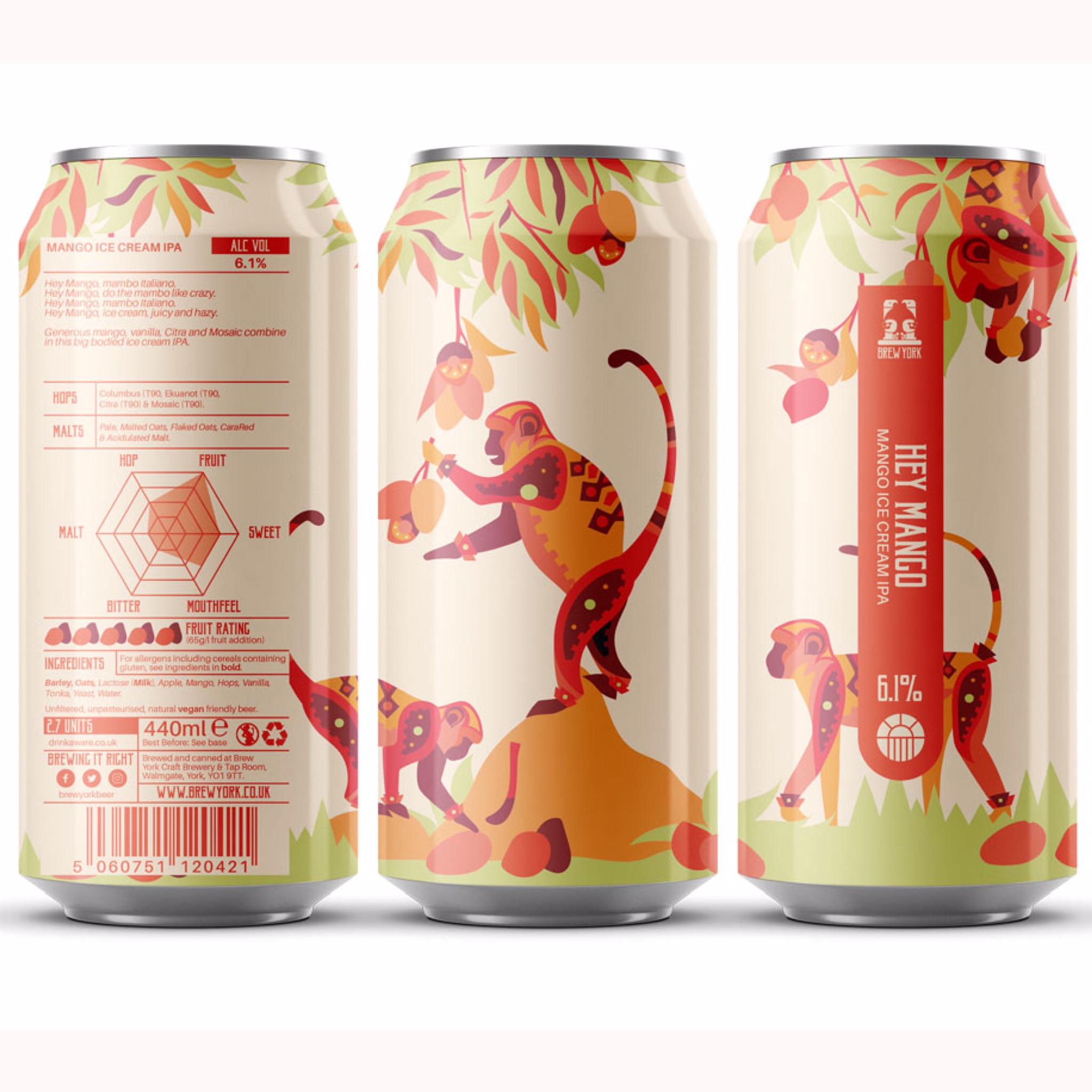 Hey Mango Ice Cream IPA 6.1% 440ml Brew York