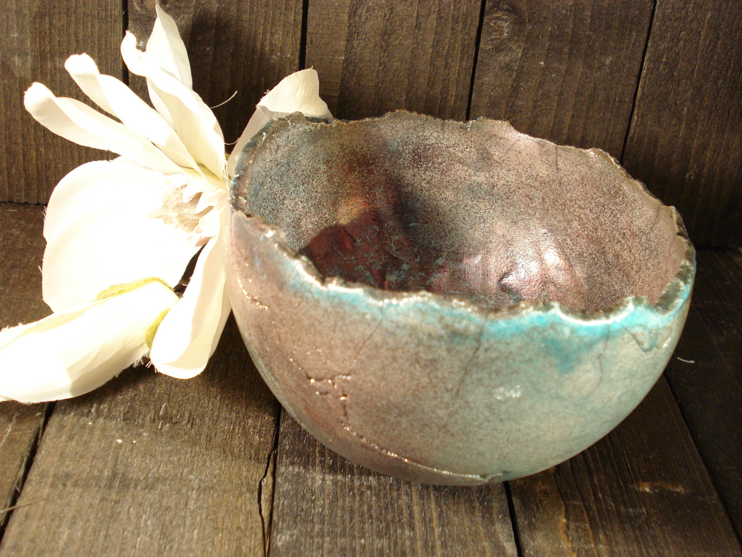 Raku skål med kobber fra Lerværket