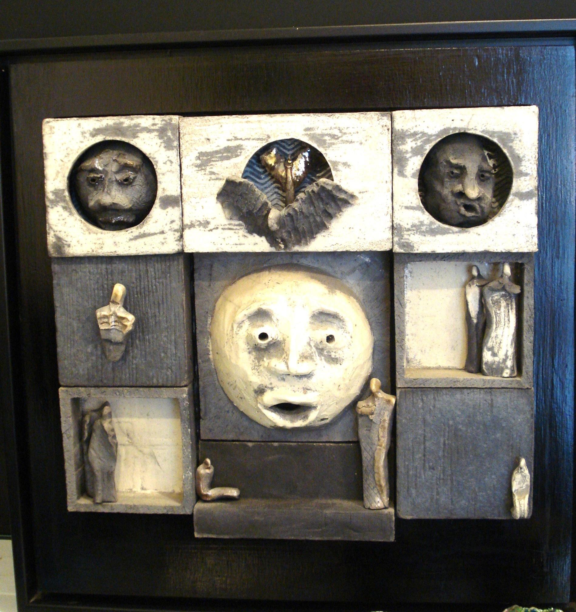 Hovederne, vægdekoration af Preben Madsen Toft
