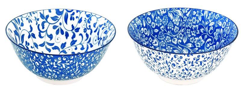 Blå skåle i stentøj