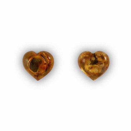 Hjerte ørestikker i sølv/rav