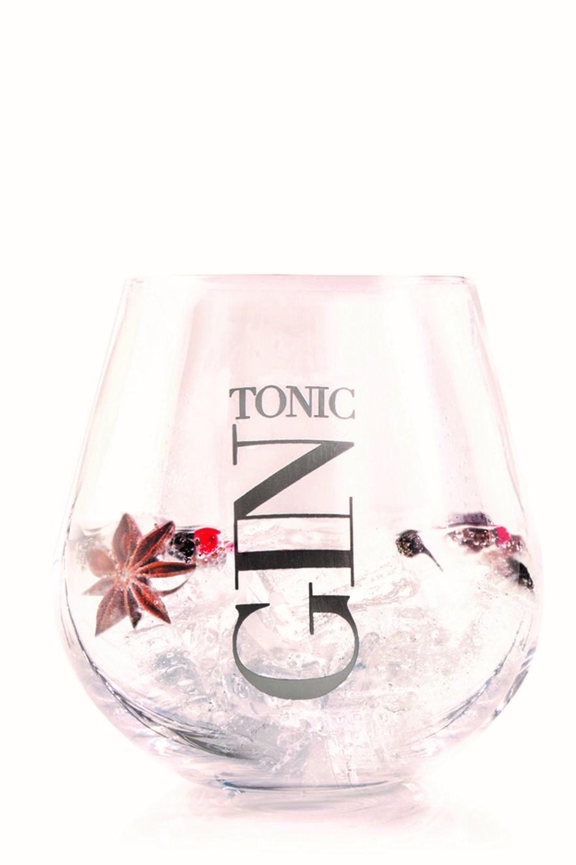 Gin og tonic glas med sølv skrift