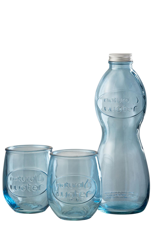 Genbrugs flaske med 2 glas i blåfarve