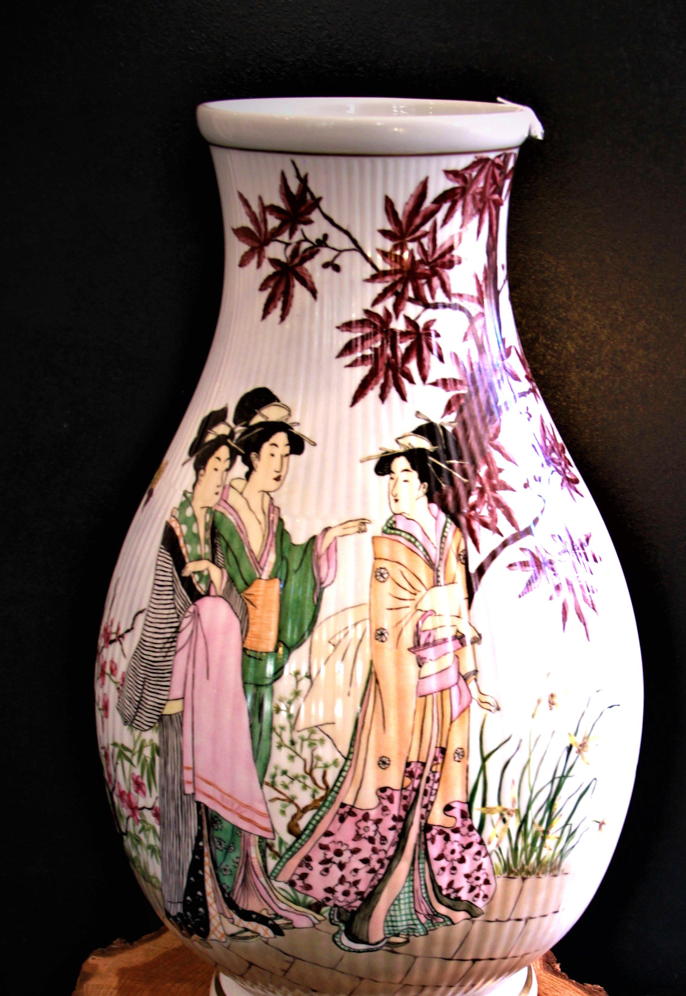 Stor vase Japansk motiv
