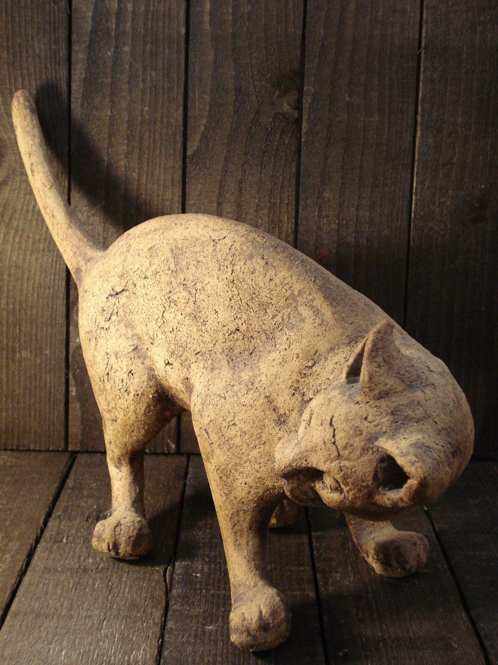 Gammel kat stentøjs figur