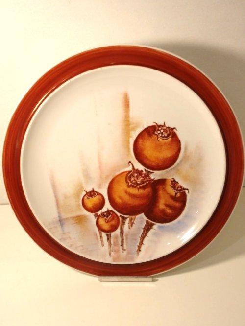Håndmalet porcelænsfad, Hyben