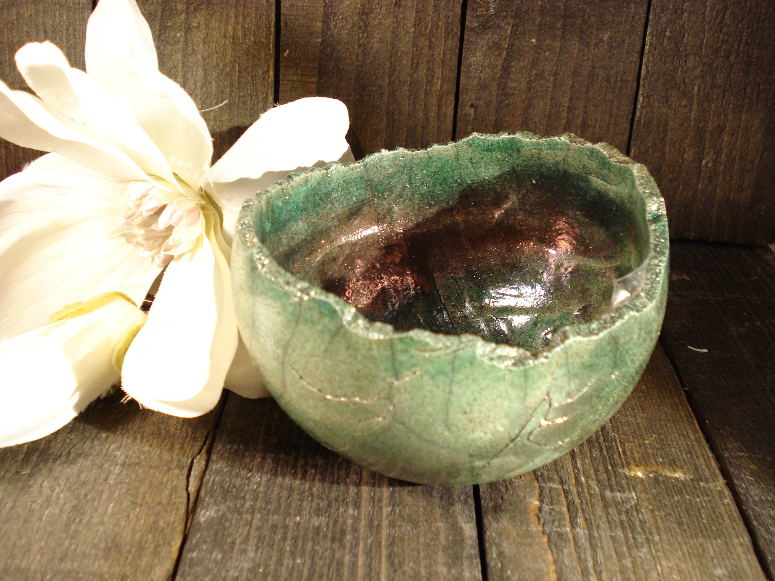 Lille raku skål med kobber fra Lerværket