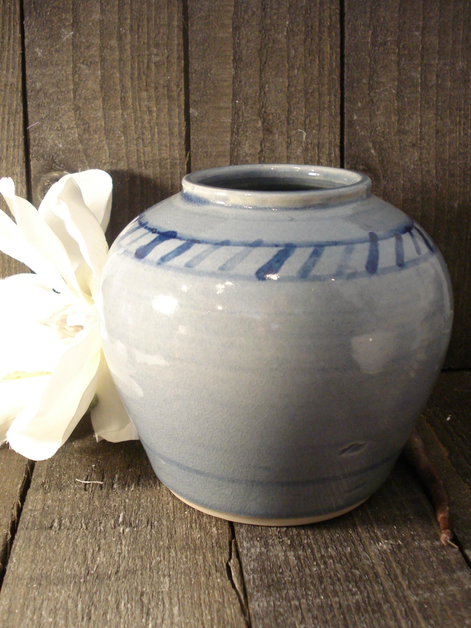 Buttede blå vase fra Signe Kähler