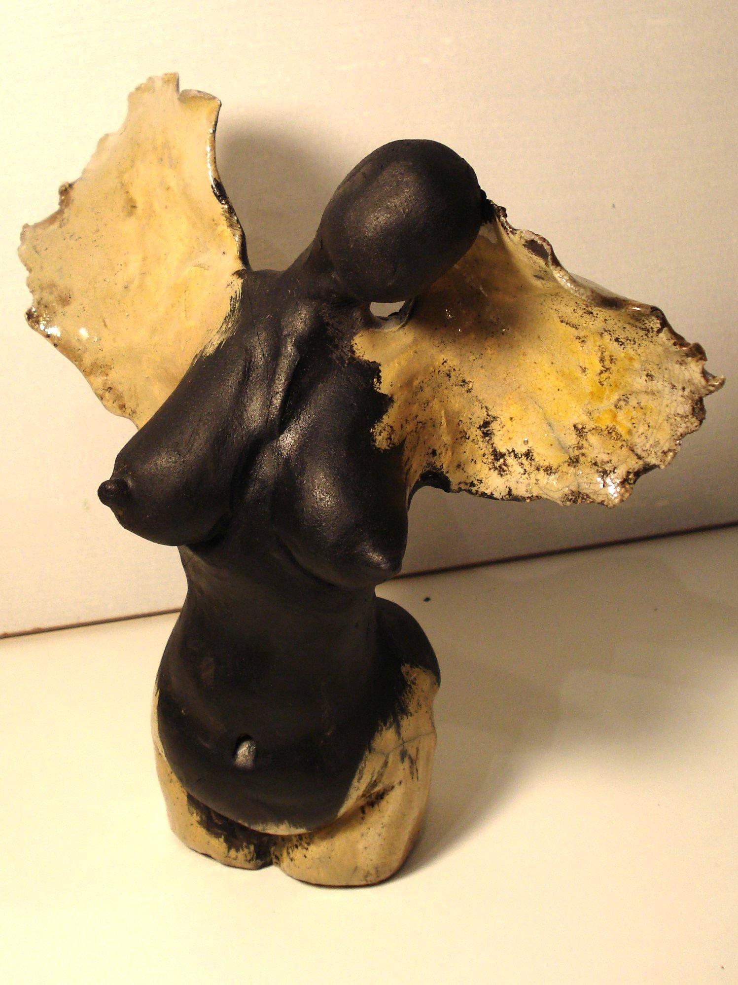 Keramik engel i raku