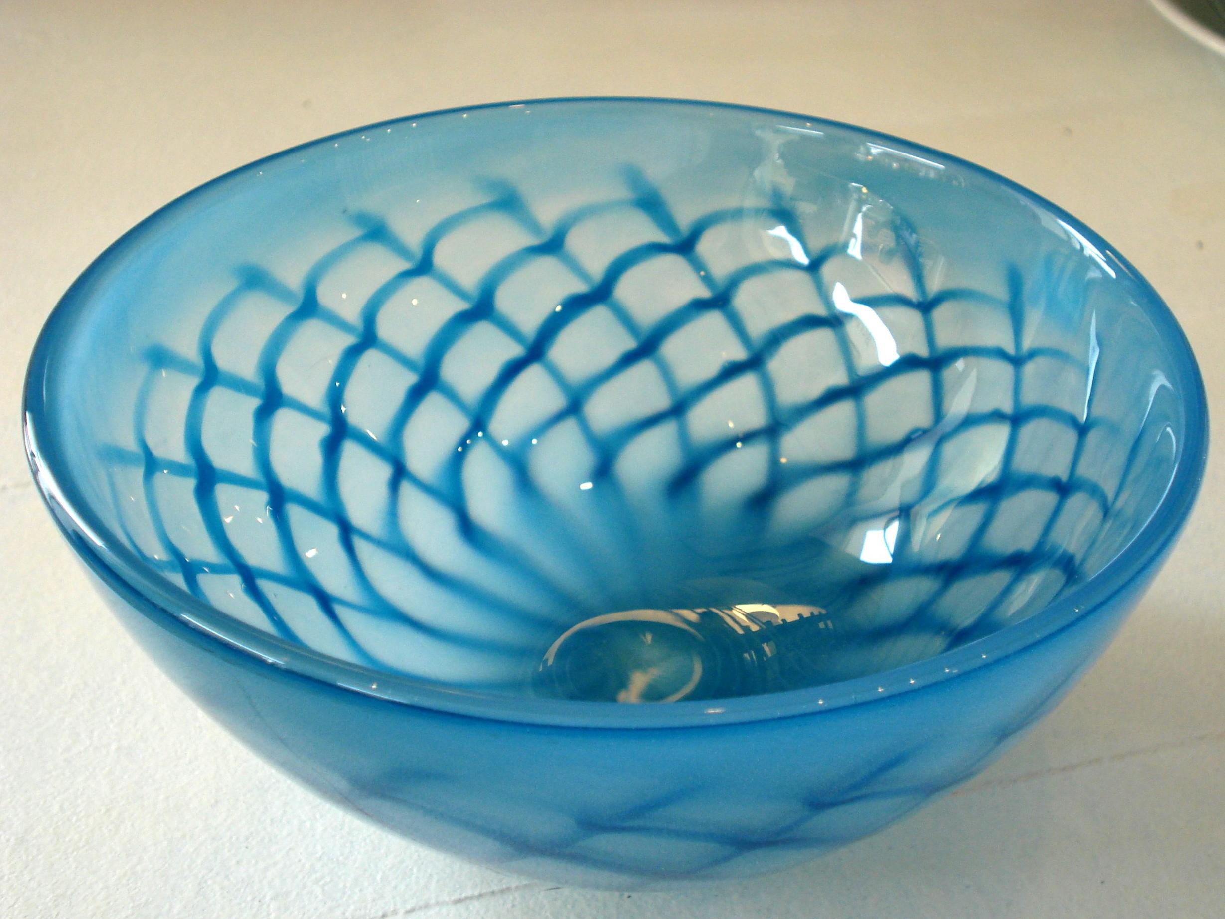 Turkis og blå glasskål
