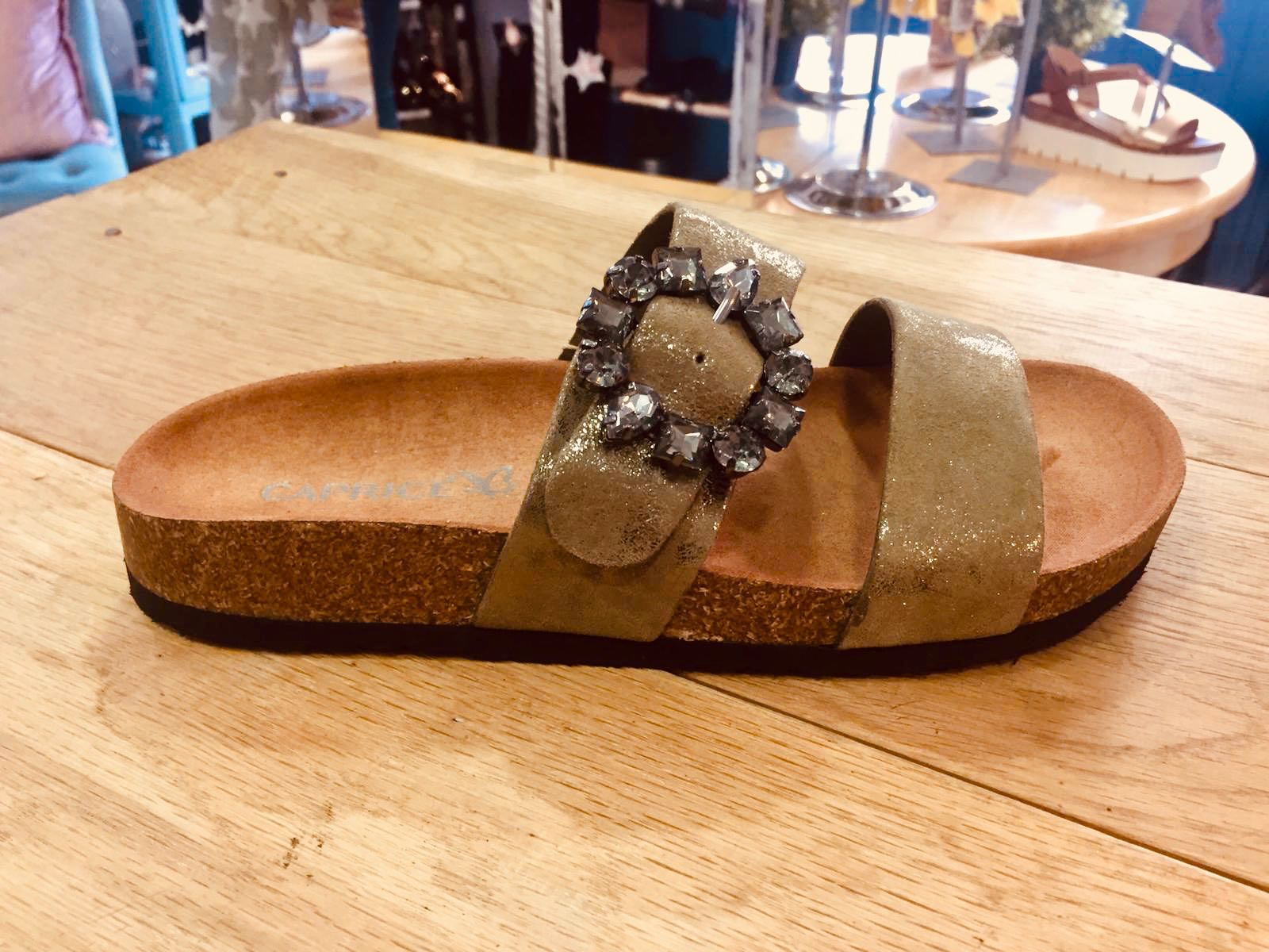 Caprice Khaki Leather Suede Diamanté Buckle Sandal