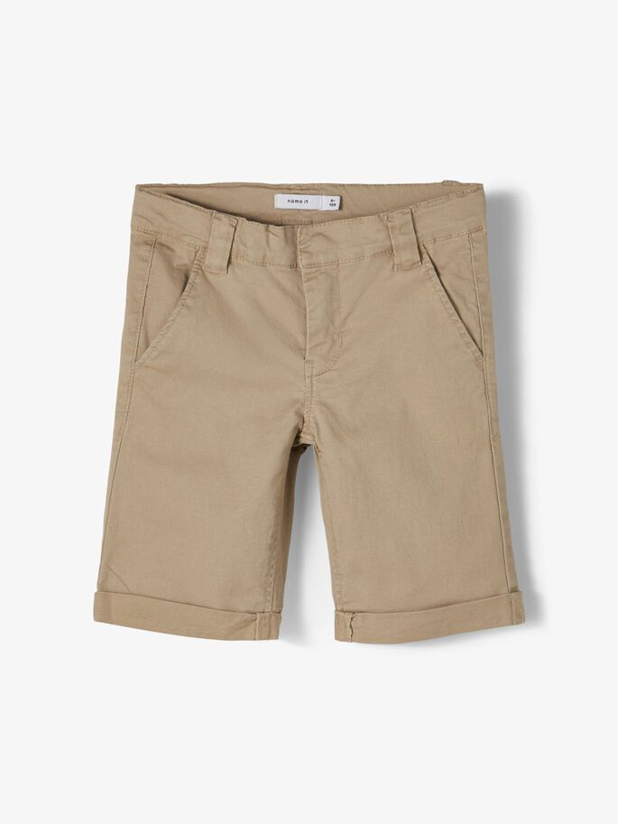 Name it Kids Slim Fit Bomullstwill Short Beige