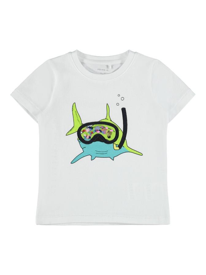 Name it Mini Haj T-shirt i Ekologisk Bomull Vit
