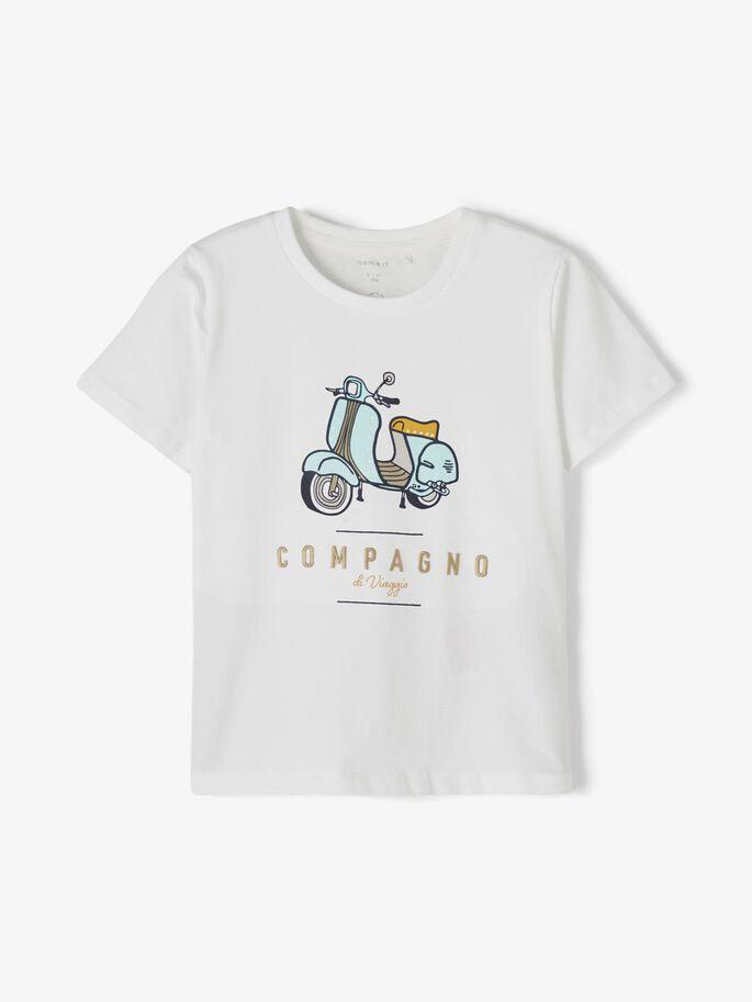 Name it Mini T-shirt med Scootertryck i Ekologisk Bomull