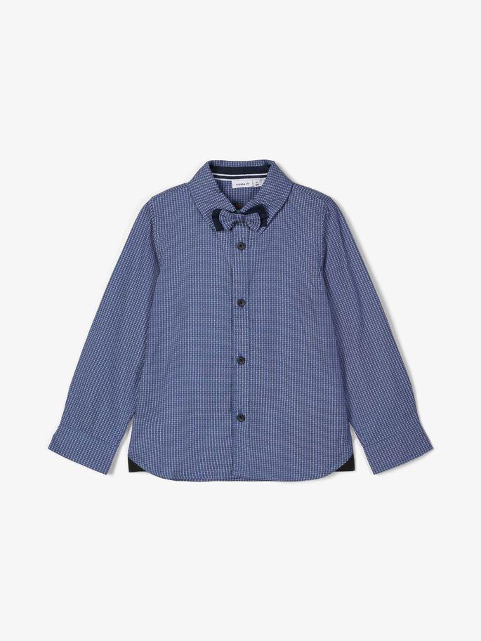 Name it Mini Rutig Skjorta i Ekologisk Bomull Marinblå