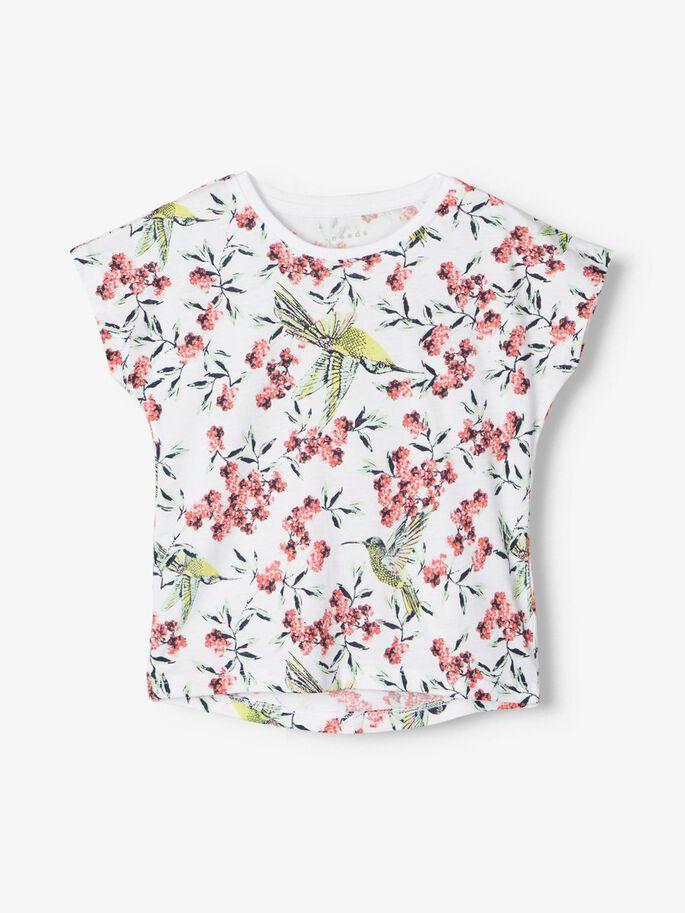 Name it Mini Mönstrad T-shirt i Ekologisk Bomull Vit