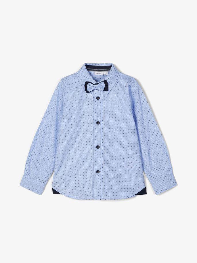 Name it Mini Mönstrad Skjorta i Ekologisk Bomull Ljusblå