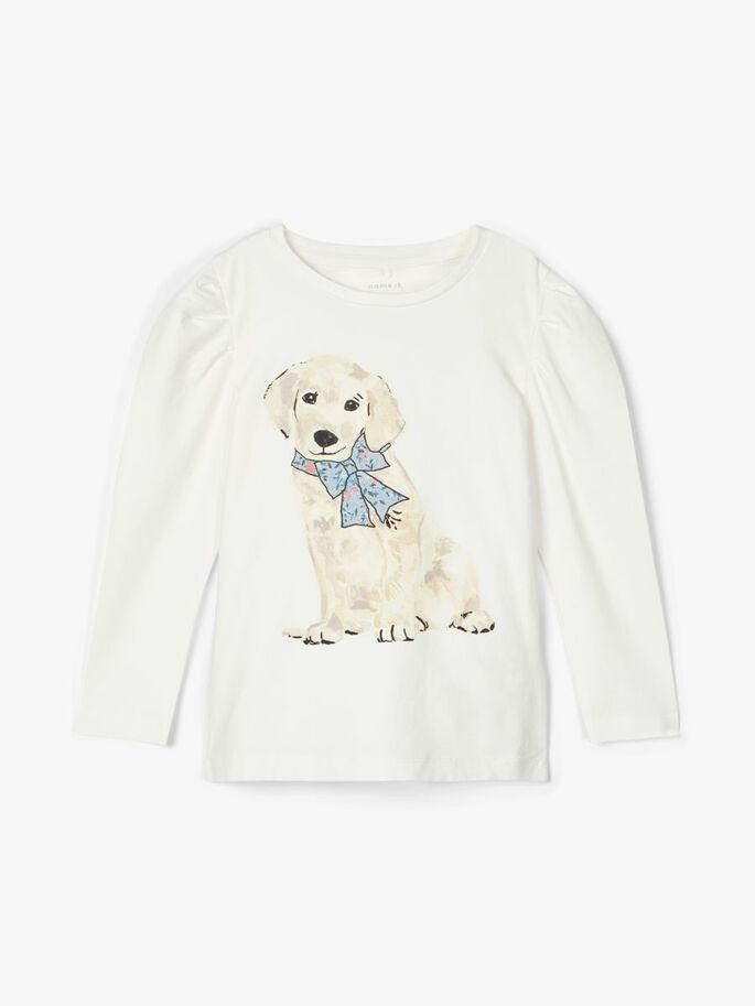 Name it Mini Långärmad T-shirt med Hundtryck i Ekologisk Bomull