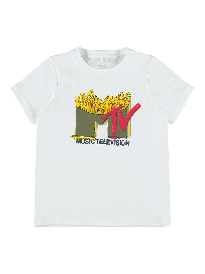Name it Kids MTV T-shirt i Ekologisk Bomull Vit