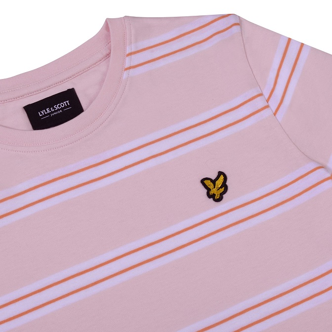 Lyle & Scott Junior Multi Stripe T-Shirt Primrose Pink