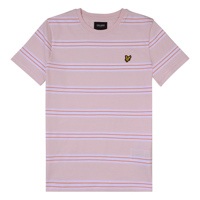 Lyle & Scott Junior Multi Stripe T-Shirt Primrose Pink