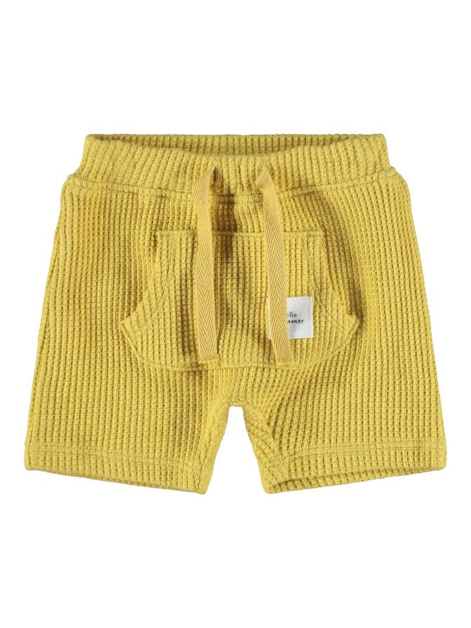 Name it Baby Våfflade Shorts i Ekologisk Bomull Gul
