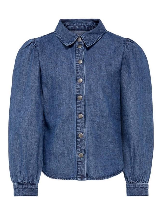Kids Only Jeansskjorta med Puffärm