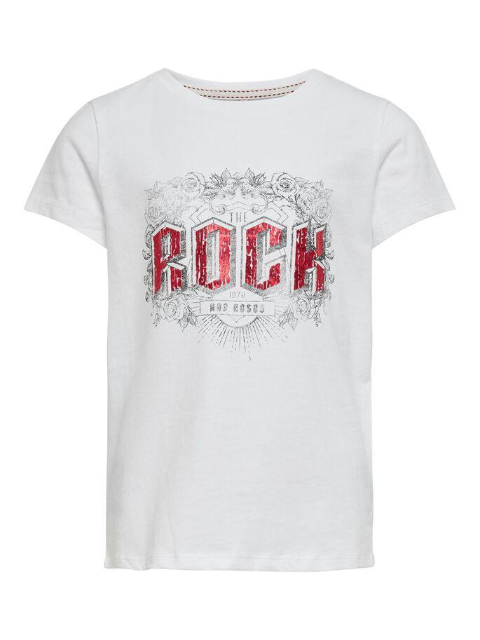 Kids Only T-Shirt med Rockigt Tryck Vit