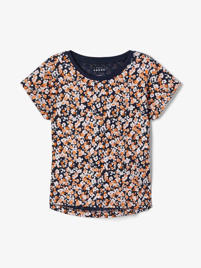 Name it Mini Mönstrad T-shirt i Ekologisk Bomull Marinblå
