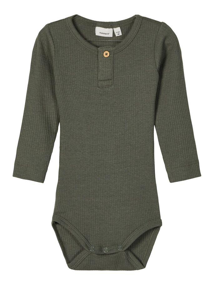 Name it Baby Ribbad Body i Ekologisk Bomull Grön