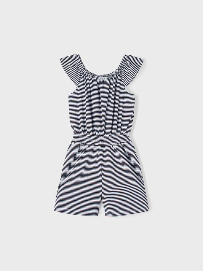 Name it Kids Randig Playsuit i Ekologisk Bomull Vit