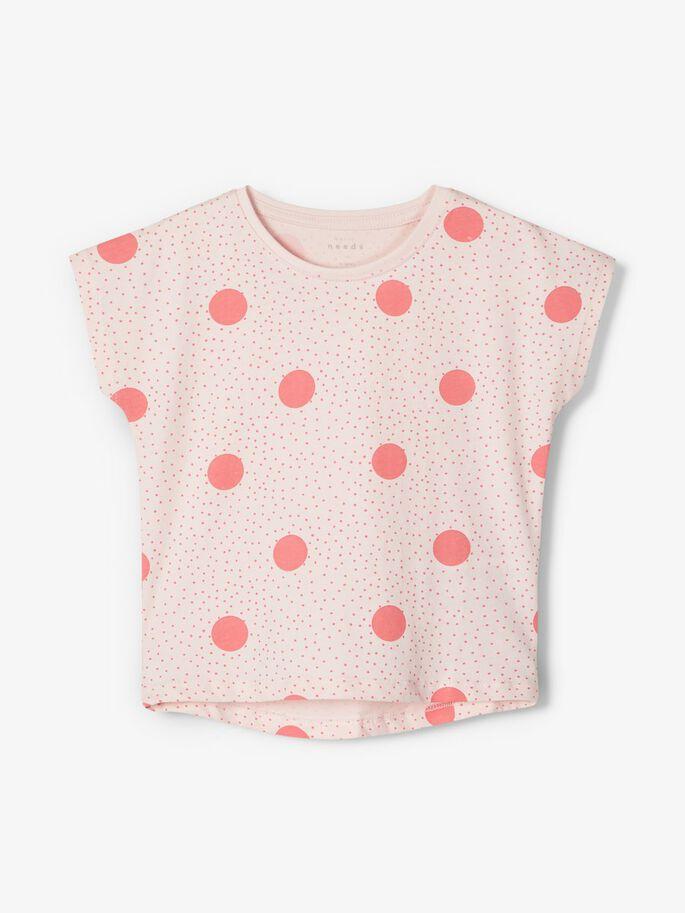 Name it Mini Mönstrad T-shirt i Ekologisk Bomull Prickig