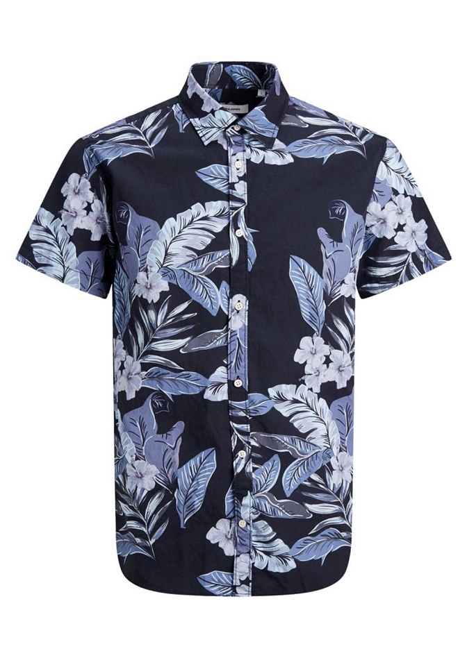 Jack & Jones Kortärmad Hawaiimönstrad Skjorta Svart