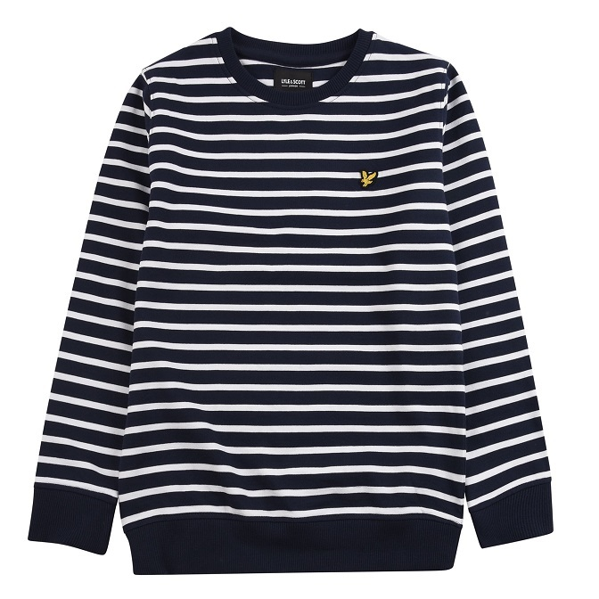Lyle & Scott Junior Breton Stripe Crew Sweat Navy