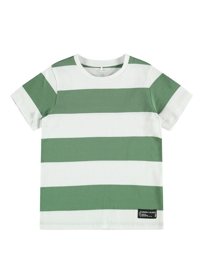 Name it Mini Blockrandig T-shirt Grön
