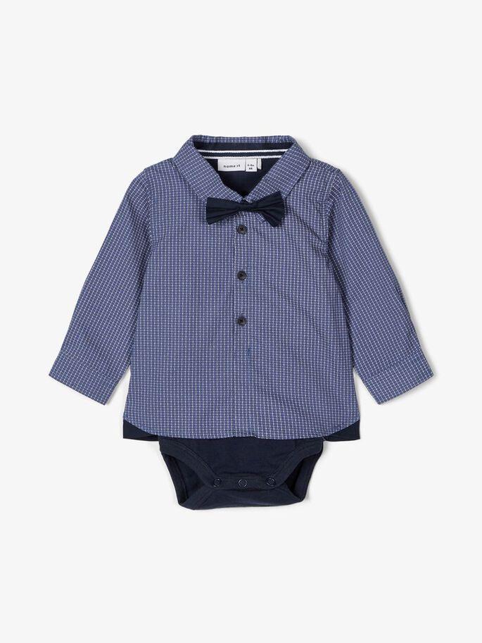 Name it Baby Rutig Skjorta med Body i Ekologisk Bomull Marinblå