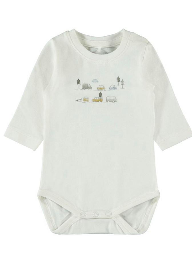 Name it Baby Bilmönstrad Body i Ekologisk Bomull Vit