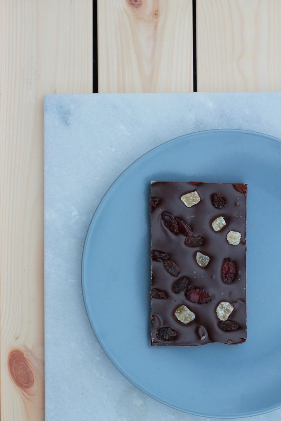 Dark Chocolate Cranberry, Ginger & Raisin Slab