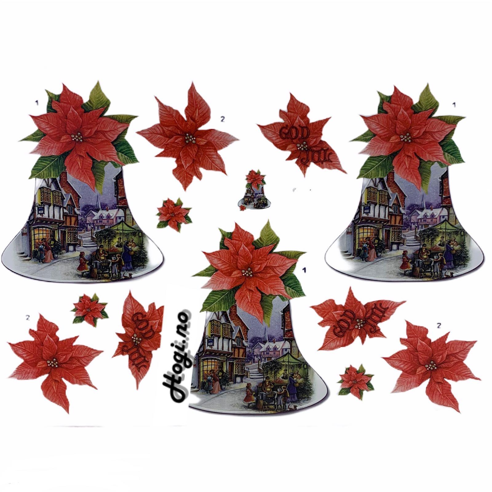3d-klippark bjelle  med landsby  og julestjerne